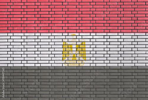 Obraz na plátně Egyptian flag painted on brick wall