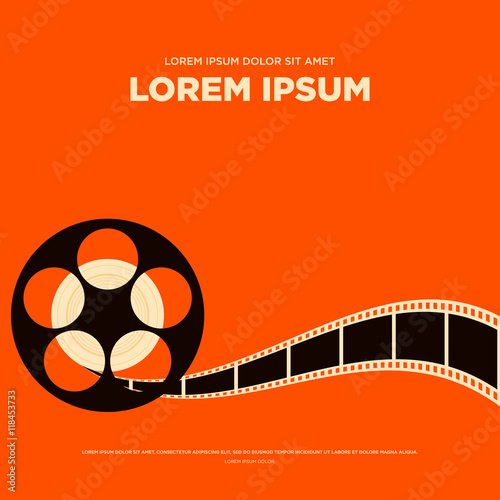 Tablou Canvas Movie film reel strip vintage poster vector illustration