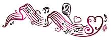 Notenblatt Mit Musiknoten, Mikrophon Und Herzen, Cherry Red.