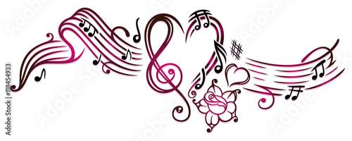 notenblatt mit musiknoten notenschlüssel rose und herz