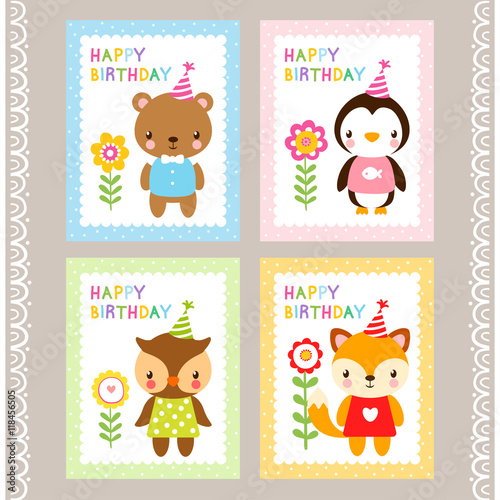 Holiday Stamps With Animals Cards With Animals In Cartoon Style