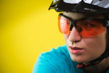 Close-up Portrait Of Female Cyclist