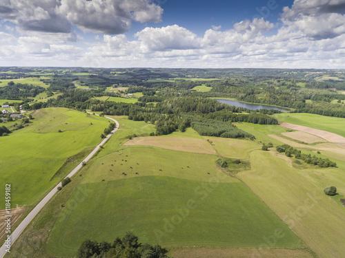 Poster Olive Suwalki Landscape Park, Poland. Summer time. View from above.