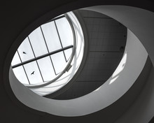 Interior Spiral Staircase, Liverpool Museum, England, With Seagu