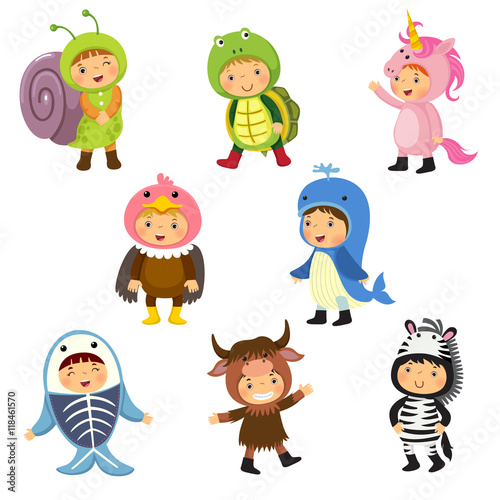 Printed kitchen splashbacks Illustrations Set of cute kids wearing animal costumes.