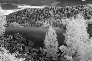 Fototapeta Czarno-Biały Fog at Katun river, Altai State Natural Biospheric Reserve, Russ