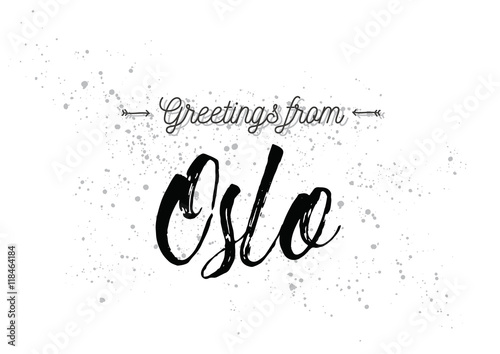 Greetings from Oslo, Norway. Greeting card with lettering design. Poster