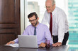 Senior Businessman Helping Young Colleague