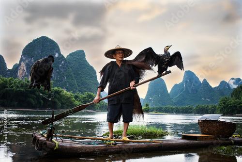 Canvas Prints Guilin fisherman of Guilin, Li River and Karst mountains. Xingping, Yangshuo County, Guangxi Province, China.