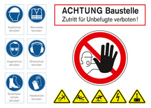 Warning Sign For Construction Site In German Language
