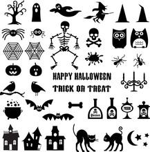 Halloween Icon Silhouettes Cli...