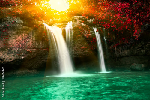 Spoed Foto op Canvas Watervallen Haew Suwat waterfall in Kao Yai national park Thailand