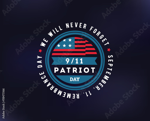 Fényképezés  Patriot day vector typographic illustration
