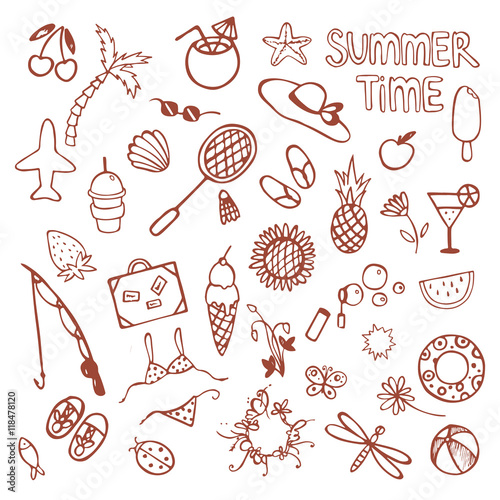 Hand drawn summer time icons set  Cute doodle summer icons