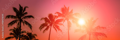 Poster Tropical beach Tropical sunset