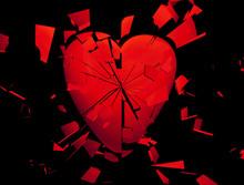 A Heart Breaking In Red On Black