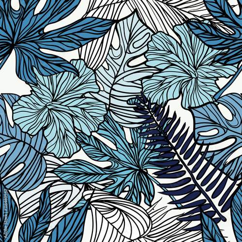 Naklejka - mata magnetyczna na lodówkę Gęsta dżungla tropikalnych liści