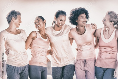 Tablou Canvas Laughing women wearing pink for breast cancer