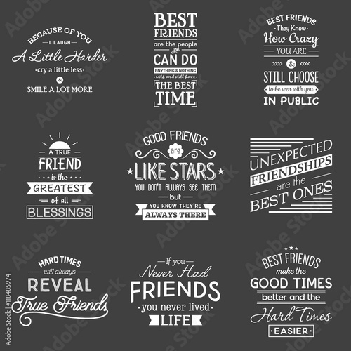 Poster Retro Friendship. Typography quotes.