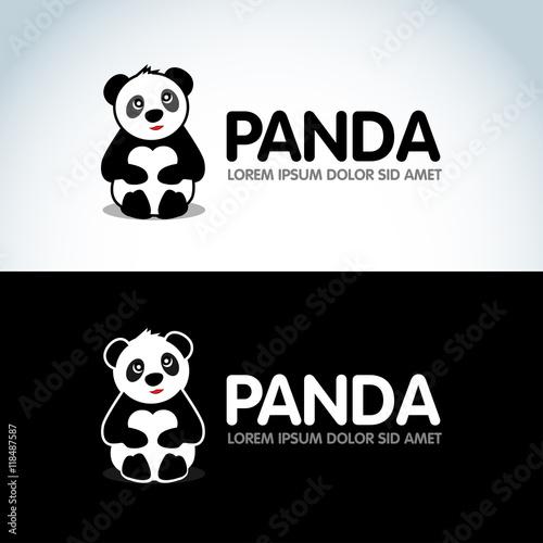 panda bear silhouette logo design vector template funny lazy logo
