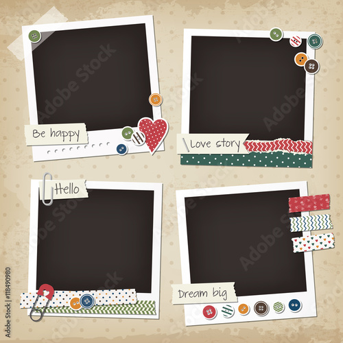 Scrapbook vintage set of photo frames with buttons, stickers, washi tapes Canvas