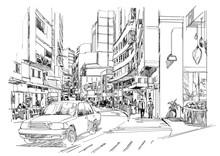 Sketch Of City Street,cityscap...