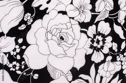 Graphic Fl Pattern On Fabric Black And White Flowers Print As Background