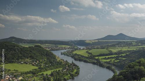 Fototapety, obrazy: Ceske Stredohori mountains and valley of river