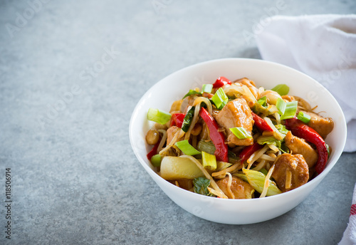 Photo  Chicken stir fry with peppers, sprouts, bok choy
