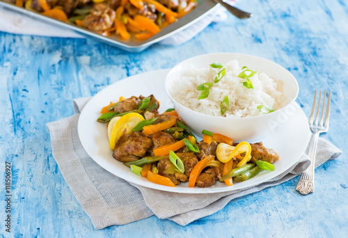 Chicken stir fry with peppers, green beans, lemons Canvas Print