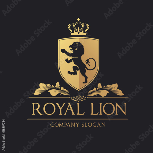 Photo  Royal Lion logo. lion logo. hotel logo. vector logo template.