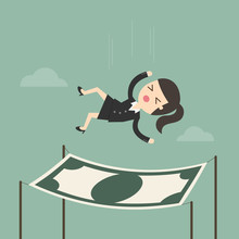 Businesswoman Falling Into A Financial Safety Net. Business Concept Cartoon Illustration.