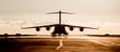 Leinwandbild Motiv Large military cargo plane silhouette