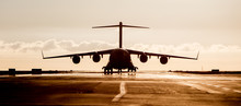 Large Military Cargo Plane Sil...