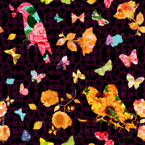 Tuinposter Seamless pattern with birds, flowers and butterflies silhouettes