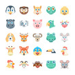 Birds and Animals Faces Colored Vector Icons 2