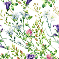 Fototapeta Watercolor wild flowers seamless pattern.