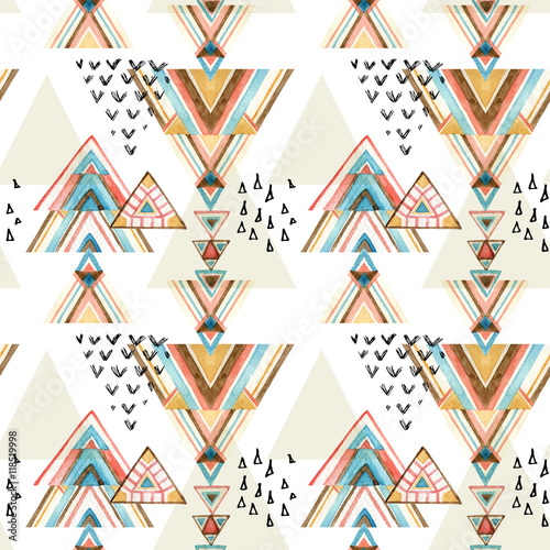 Recess Fitting Graphic Prints Abstract watercolor ethnic seamless pattern.