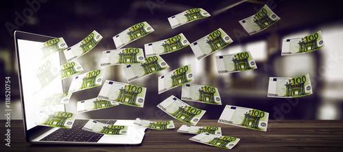 Notebook spuckt Geldscheine aus. Wallpaper Mural
