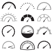 Speedometer Or Gauge Icons Set. Meter And Car Instrument Design Elements. Vector Illustration.