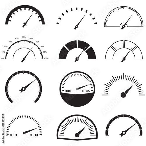 Fotografie, Obraz  Speedometer or gauge icons set
