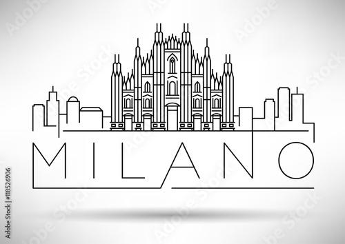 Minimal Vector Milano City Linear Skyline with Typographic Desig Canvas Print