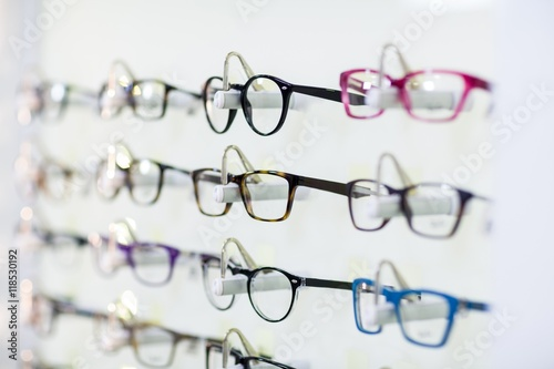 Fotografía  Close-up of various spectacles on display