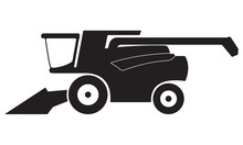 Combine Harvester Icon Or Sign Isolated On White Background. Vector Illustration.