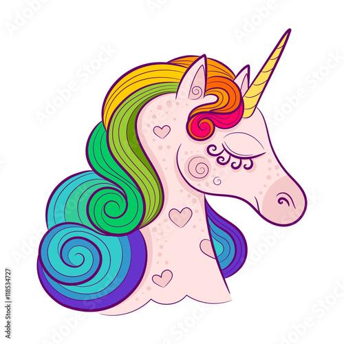 Fotografie, Obraz  Head of cute white unicorn with rainbow mane isolated on white background