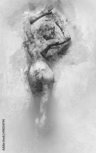 Plakat Cyfrowe akwarele naga kobieta