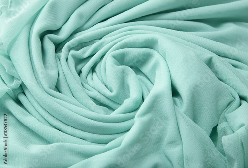 Fotografie, Obraz  A full page close up of a swirl of green chiffon fabric texture