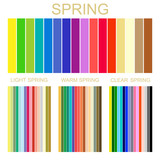 Stock vector seasonal color analysis palette for spring type of female appearance. Set of palettes for light, warm and clear spring
