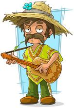 Cartoon Farmer In Straw Hat With Guitar