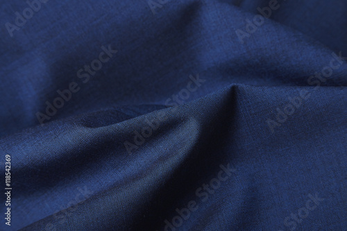 Fotobehang Stof A full page close up of royal blue suit fabric texture